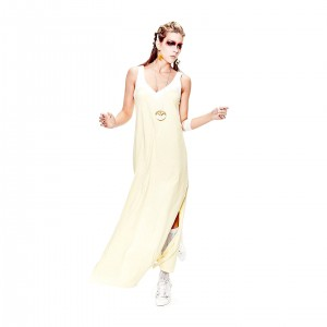 yellow white dress organic cotton dress fair and local produced in Berlin